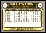 1981 Fleer #29  Willie Wilson  Back Thumbnail