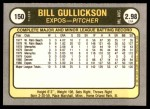 1981 Fleer #150  Bill Gullickson  Back Thumbnail