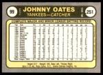 1981 Fleer #99  Johnny Oates  Back Thumbnail