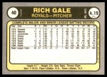 1981 Fleer #40  Rich Gale  Back Thumbnail