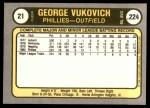 1981 Fleer #21  George Vukovich  Back Thumbnail