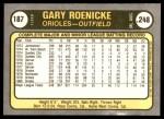 1981 Fleer #187  Gary Roenicke  Back Thumbnail
