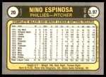 1981 Fleer #20  Nino Espinosa  Back Thumbnail