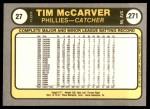 1981 Fleer #27  Tim McCarver  Back Thumbnail