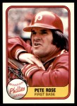 1981 Fleer #1 UER Pete Rose  Front Thumbnail