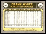 1981 Fleer #44  Frank White  Back Thumbnail