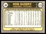 1981 Fleer #88  Ron Guidry  Back Thumbnail