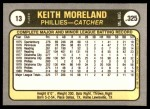 1981 Fleer #13  Keith Moreland  Back Thumbnail