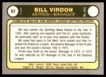 1981 Fleer #61  Bill Virdon  Back Thumbnail