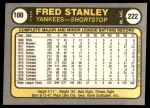 1981 Fleer #100  Fred Stanley  Back Thumbnail