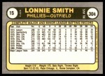 1981 Fleer #15  Lonnie Smith  Back Thumbnail