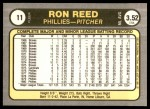 1981 Fleer #11  Ron Reed  Back Thumbnail