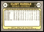 1981 Fleer #45  Clint Hurdle  Back Thumbnail