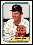 1981 Fleer #81  Tommy John  Front Thumbnail