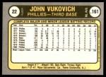 1981 Fleer #22  John Vukovich  Back Thumbnail