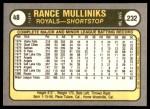 1981 Fleer #48  Rance Mulliniks  Back Thumbnail