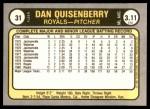 1981 Fleer #31  Dan Quisenberry  Back Thumbnail