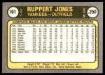 1981 Fleer #101  Ruppert Jones  Back Thumbnail