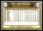 1981 Fleer #97  Tom Underwood  Back Thumbnail