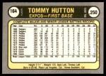 1981 Fleer #164  Tommy Hutton  Back Thumbnail