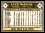 1981 Fleer #9  Bake McBride  Back Thumbnail