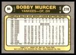 1981 Fleer #94  Bobby Murcer  Back Thumbnail