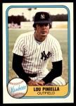 1981 Fleer #85  Lou Piniella  Front Thumbnail