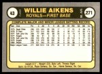 1981 Fleer #43  Willie Aikens  Back Thumbnail