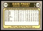 1981 Fleer #275  Dave Frost  Back Thumbnail