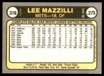 1981 Fleer #316  Lee Mazzilli  Back Thumbnail