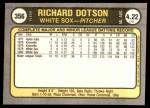 1981 Fleer #356  Richard Dotson  Back Thumbnail