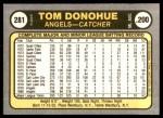 1981 Fleer #281  Tom Donohue  Back Thumbnail