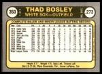 1981 Fleer #353  Thad Bosley  Back Thumbnail