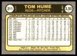1981 Fleer #211  Tom Hume  Back Thumbnail