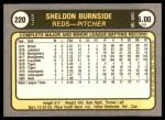 1981 Fleer #220  Sheldon Burnside  Back Thumbnail