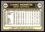 1981 Fleer #329  Claudell Washington  Back Thumbnail