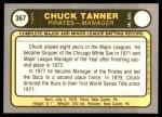 1981 Fleer #367  Chuck Tanner  Back Thumbnail