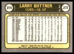 1981 Fleer #314  Larry Biittner  Back Thumbnail