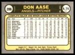 1981 Fleer #286  Don Aase  Back Thumbnail