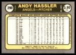 1981 Fleer #290  Andy Hassler  Back Thumbnail
