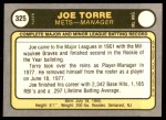 1981 Fleer #325  Joe Torre  Back Thumbnail