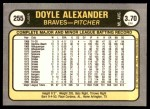 1981 Fleer #255  Doyle Alexander  Back Thumbnail