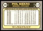 1981 Fleer #242  Phil Niekro  Back Thumbnail