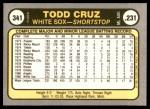 1981 Fleer #341  Todd Cruz  Back Thumbnail