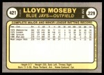 1981 Fleer #421  Lloyd Moseby  Back Thumbnail