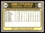 1981 Fleer #535  John Littlefield  Back Thumbnail