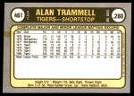 1981 Fleer #461  Alan Trammell  Back Thumbnail