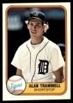 1981 Fleer #461  Alan Trammell  Front Thumbnail