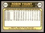 1981 Fleer #511  Robin Yount  Back Thumbnail
