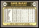1981 Fleer #592  Dave McKay  Back Thumbnail